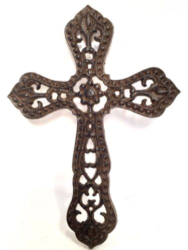 Cross Christian Crucifix Cast Iron, Wall Hanging Vintage Style, free shipping