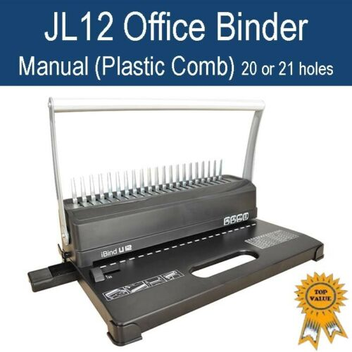New Manual Home Office Plastic Comb Binder / Binding Machine 21 holes JL12-White <br/> Get ready to work & study at home!!!
