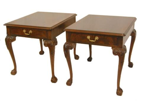 Pr of Mahogany Claw Foot Chippendale Tables by Heritage, Heirloom Collection