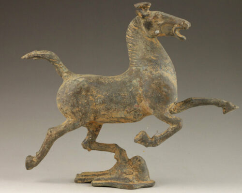 Vintage Collection Old Bronze Vivid Horse Stepped Swallow Statue