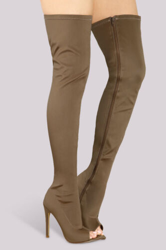 Thigh High Over Knee Stretchy Open Peep Toe High Heel Boots - Taupe Brown
