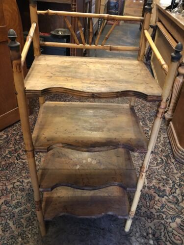 ANTIQUE ADIRONDACK BAMBOO WOOD BOOKCASE SHELF STAND BOOK HOLDER RACK PRIMITIVE