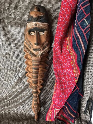 Old Papua New Guinea Carved Wooden Sepik River Mask …with cowrie shell eye's