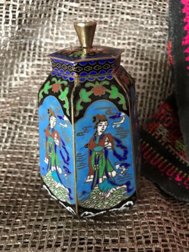 Old Chinese Cloisonné Enameled Brass Container …beautiful shape and design