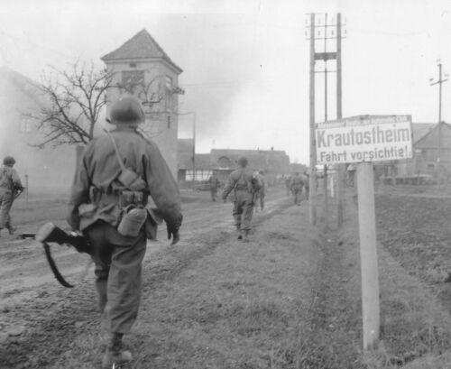 """WWII B&W Photo US Soldiers in German Town """"Drive Safely"""" Sign  WW2 / 1153United States - 156437"""