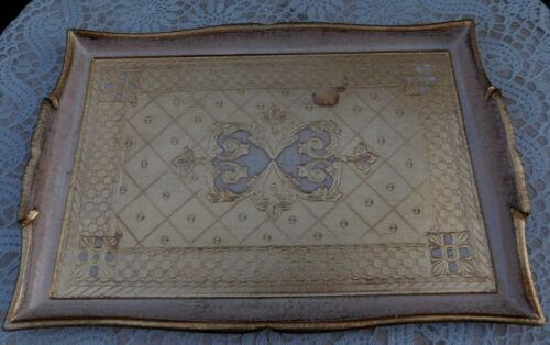 Vintage Italian Florentine Tole Gold Gilded Serving Vanity Tray Italy