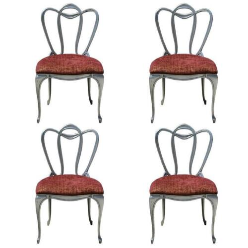 Hollywood Regency Period Art Nouveau Revival Aluminum Chair Set