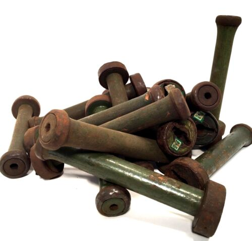 Textile Bobbins Spools Spindles Vintage Wooden Imported 24 Green Quills fm India