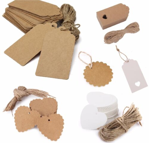 100pcs Christmas Kraft Paper Gift Tags Price Wedding Scallop Label Blank Luggage