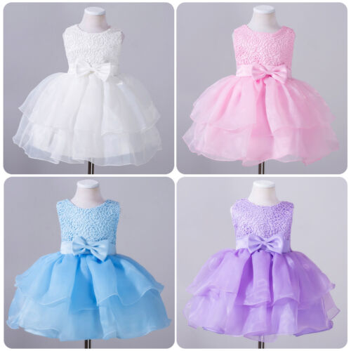 Flower Girls Princess Bows Dress Toddler Baby Wedding Party Pageant Tutu Dresses