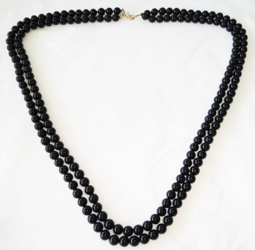 Vintage Chinese Black Jade Bead Double Strand Necklace w. Unmarked Gold Hooks (W