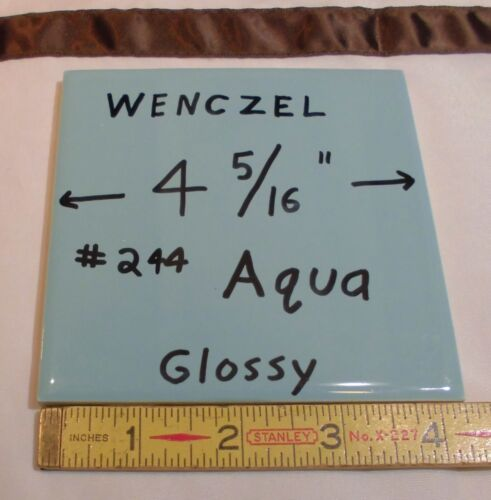 12 Glossy Tiles...Turquoise... made by Wenczel Tile Co.…NOS…4-5/16 inches...