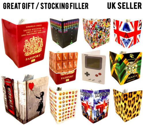COOL PASSPORT COVER LUGGAGE UK EUROPEAN TRAVEL ID HOLDER WALLET CASE LOT