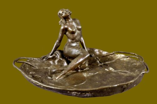 Art Nouveau Dish Metal By Angles Jewelry Tray Bronze Sculpture Figurine Gift