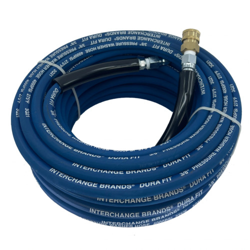 "100 ft 3/8"" Blue Non-Marking 4000psi Pressure Washer Hose Includes QC Couplers <br/> Authorized Pressure Parts Dealer 