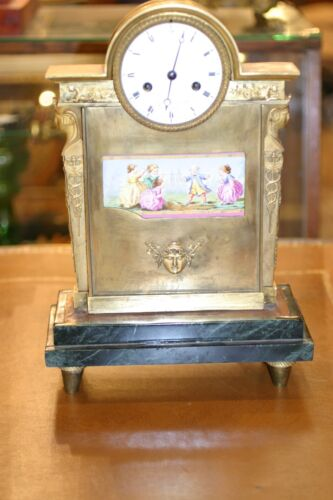 FRENCH EMPIRE  GILDED FIGURAL BRONZE   MANTEL CLOCK 19C. HAND PAINTED