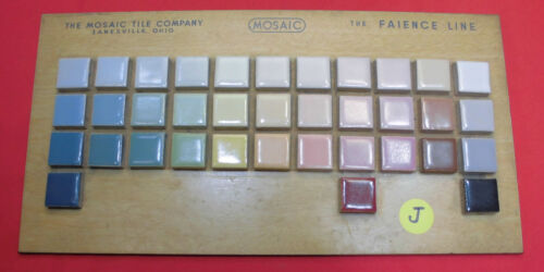 Vintage Ceramic Tile by The Mosaic Tile Co.  Sample colors on masonite board (J)