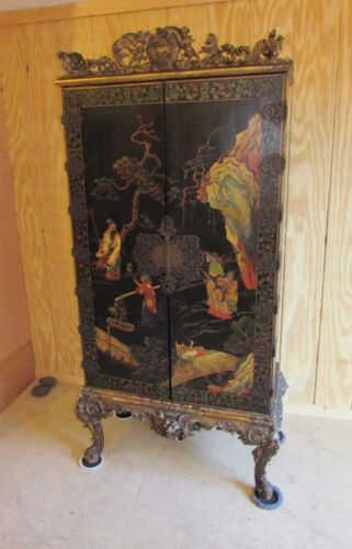 Exceptional Antique Chinese English Coromandel Cabinet Chinoiserie  AS - IS