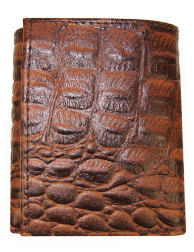 AG Wallets Mens Crocodile Embossed Credit Card ID Leather Brown Trifold Wallet