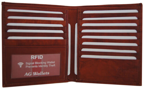 Mens RFID Signal Blocking Cow Leather European Hipster Credit Card ID Wallet