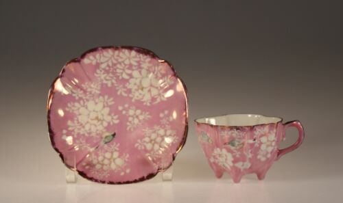 Early Pink Copper Lustre Quatrefoil Flowers and Birds  Cup and Saucer, c. 1860