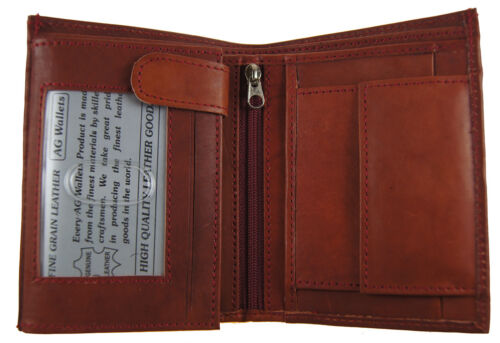 Men's European Cowhide Leather Hipster Trifold Wallet 3 ID,8 card Slots Burgundy