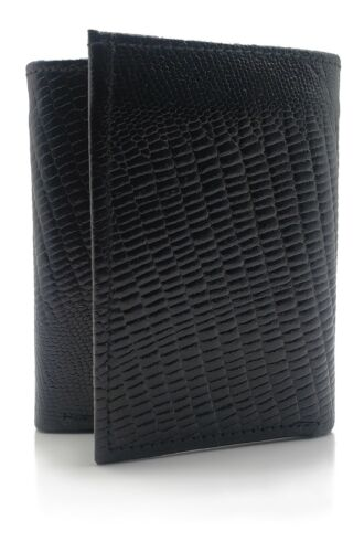 Men's Black Lizard Embossed Soft Leather Passcase Trifold Wallet NEW Gift ID