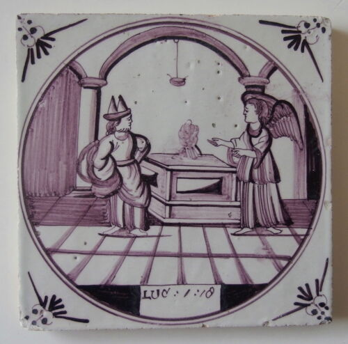 18th century DELFT TILE BIBLICAL TEXT LUC 1:18 ZECHARIAH AND THE ANGEL