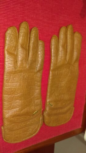 Vintage Dents Ladies Shell Cotton Backed Vinyl Gloves Large Size Circa 60's