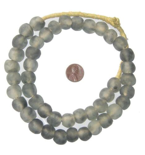 African Recycled Glass Beads - 14mm (Grey Mist) Ghana
