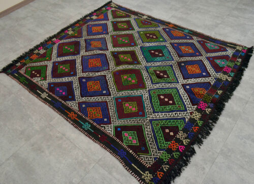 58x69 inches Turkish Kilim Rug Hand-Woven Wool Anatolia Braided Area Rug