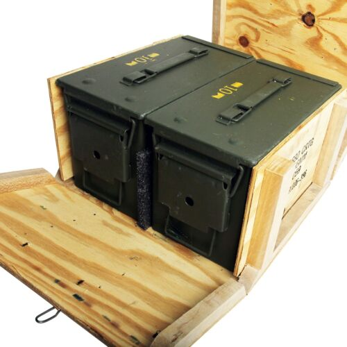 2 - M2A1 50cal 5.56 Ammo Cans/Ammo Box in Military Surplus Wood Ammunition CrateBoxes & Chests - 165616