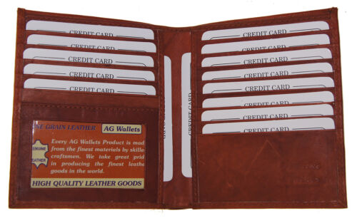 Genuine Leather Large Hipster Bifold Credit Card Id Men's Wallet Euro Burgundy