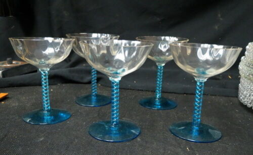5 beautiful blue twisted stem wine / champagne  goblets / thumbprint bowl no mrk