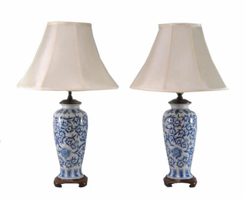 Pair Asian Style Porcelain And Wood Ginger Jar Table Lamps In Blue And Cream