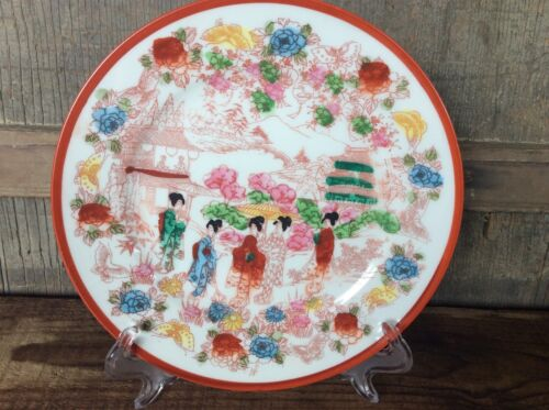 Antique Porcelain Nippon Japan Hand Painted Plate Stunning Colors Geisha Girls