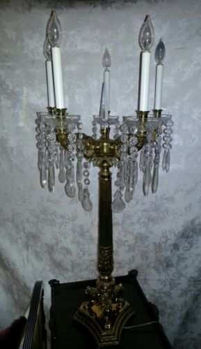 Pair of Antique Brass and Crystal Lamps - Quite Stately FREE SHIP
