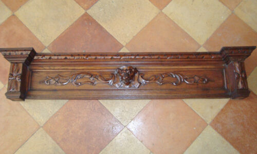 SUPERB CARVED WOODEN LION PEDIMENT FOR FIREPLACE KITCHEN ARCHITECTURAL SALVAGE