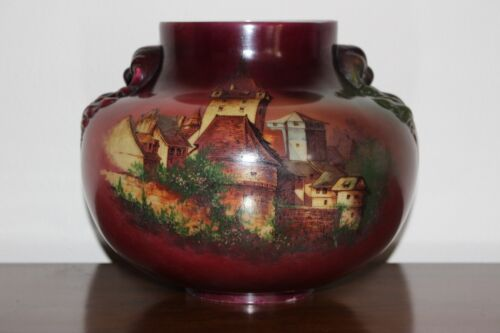 Large Antique Victorian Glass GWTW Table / Oil Lamp Shade Hand Painted Castle