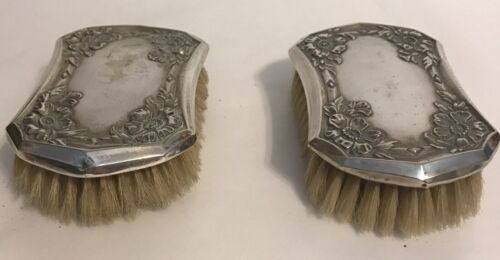 Lot 2 vtg  Silver  brush silverplate clothes Garment brushes