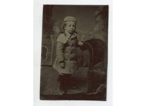 TINTYPE STUDIO PORTRAIT SMALL CHILD IN GREAT OUTFIT W/ HAT