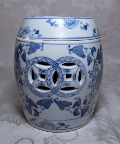 Vintage Chinese Blue and White Reticulated Porcelain Incense Burner Censer