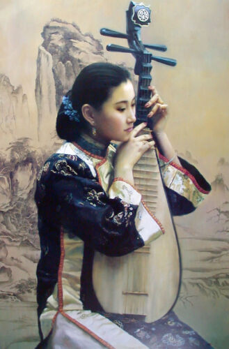 Oil painting beautiful Chinese young lady playing Pipa no framed Hand painted