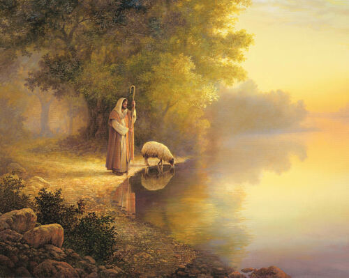Dream-art Oil painting portraits Christ Jesus & sheep by lake in sunset canvas