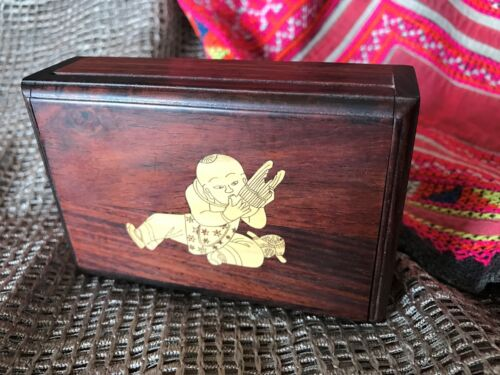 Old Chinese Inlaid Redwood Card Box …beautifully hand crafted