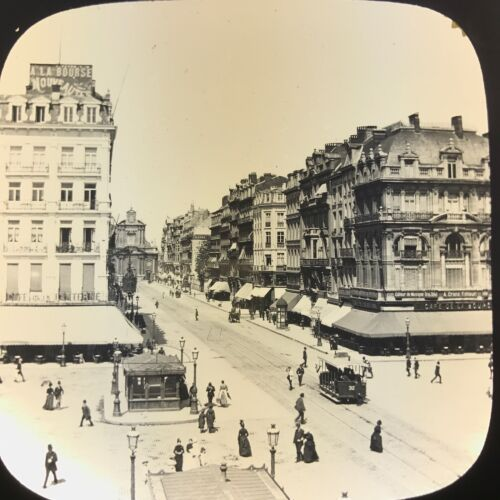 Antique Magic Lantern Glass Slide Photo The Boulevard Anspach Brussels