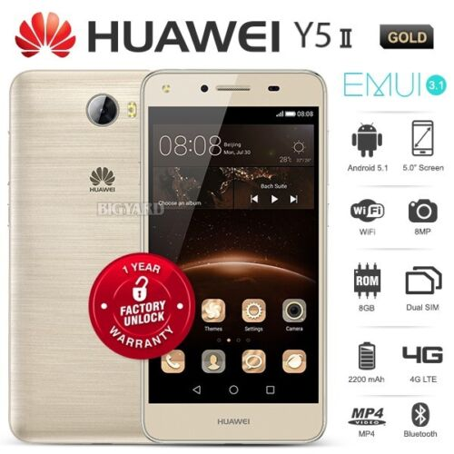 "New Unlocked HUAWEI Y5ii 2 Gold 5"" IPS LCD Dual SIM 4G LTE Android Cell Phone"