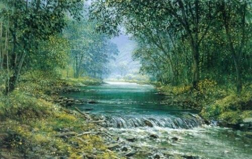 Nice Oil painting spring landscape with stream crossing the forest Hand painted