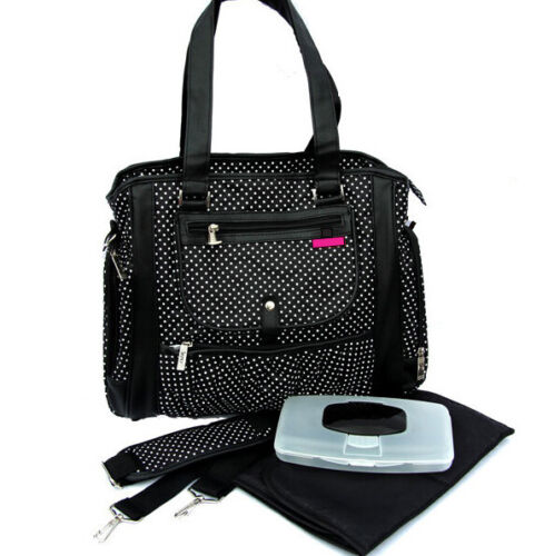 Trendy Diaper Nappy Bag 13 Pockets Snoozy Baby [Black and white]