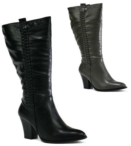 HIGH KNEE-BRAND NEW LADIES WOMEN BLOCK LOW HEEL ROUNDED TOE BOOTS UK SIZE 2-8